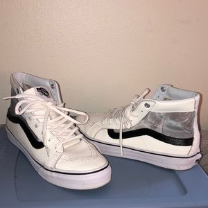 Vans high tops white/black with mesh sides